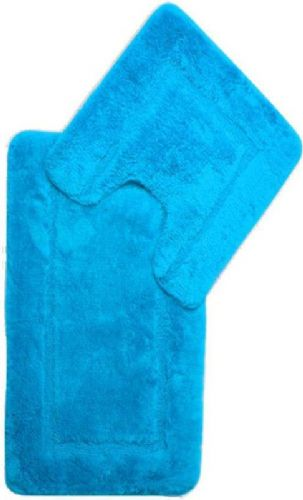 DESIGNER LUXURY SOFT MICROFIBRE BATH MAT & PEDESTAL RUG AQUA BLUE COLOUR